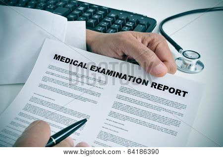 a doctor in his office showing a medical examination report