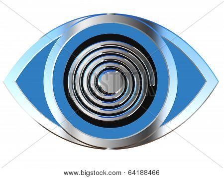 Eye Icon With Spiral Effect In Blue And Silver