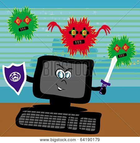 Computer virus attacking on a desk in the office , vector illustration poster