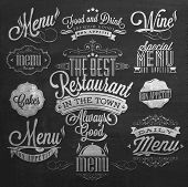 Illustration of Vintage Typographical Element for Menu On Chalkboard poster