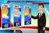 A vector illustration of TV weather news reporter at work poster