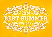 Summer Design with Floral Pattern. Best Summer Holidays Lettering. Orange Background. poster