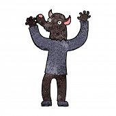 cartoon happy werewolf man poster