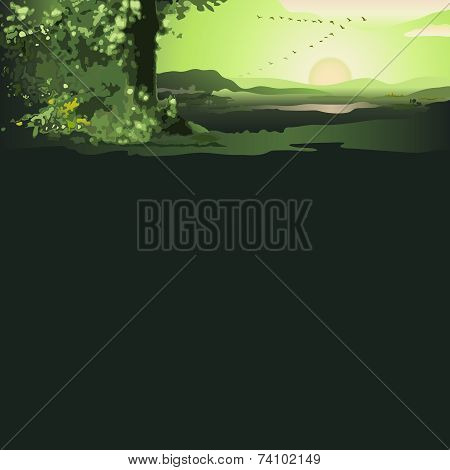Green Landscape with Rising Sun