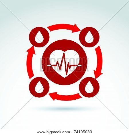 illustration of a red heart symbol with an ecg placed in a circle, heartbeat line, medical cardiolog
