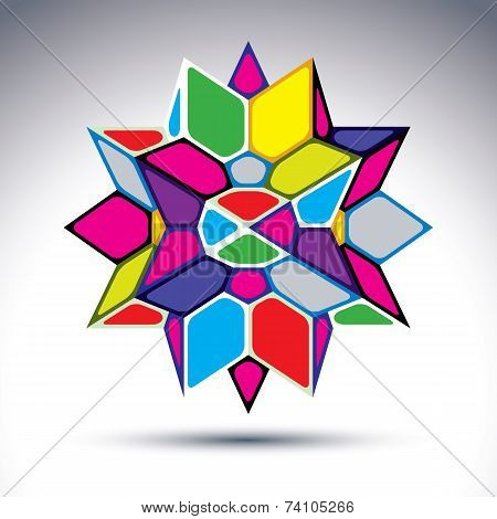 Rich 3d abstract psychedelic figure constructed from geometric elements. vivid complicated design object kaleidoscope and gemstone effect. poster