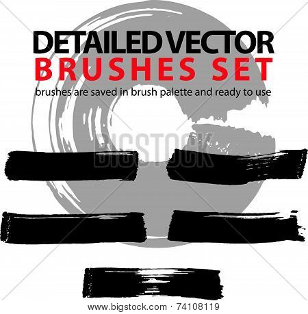 Brush strokes palette, set of black hand-drawn acryl highly detailed strokes. Ink drawn doddle art e