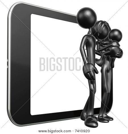 Family With Touch Screen Mobile Device