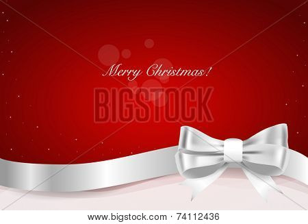 Christmas background. Gift bow and Shiny ribbon on red background. Vector illustration.