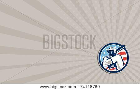 Business Card American Baseball Batter Hitter Circle Retro