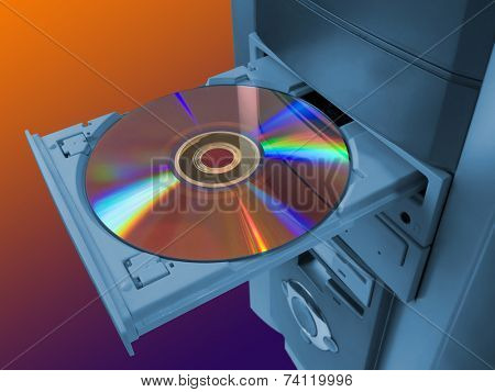 Spectrum (rainbow) on disk in tray poster