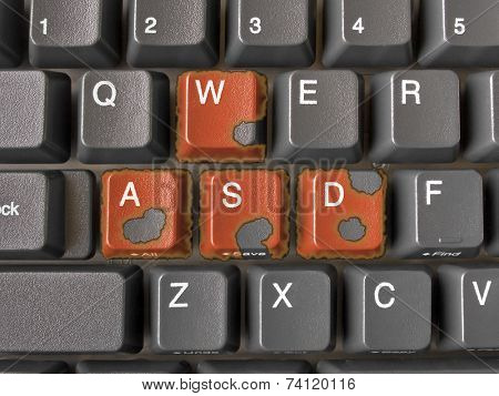 Buttons WASD on keyboard with burning edges