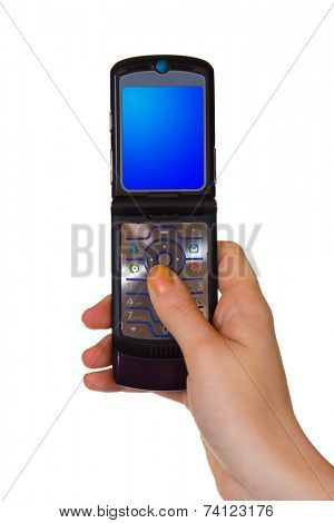 Flip mobile phone in hand, isolated on white background