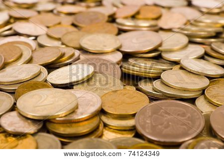 Macro of coins, abstract money background