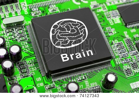Brain symbol on computer chip, technology concept