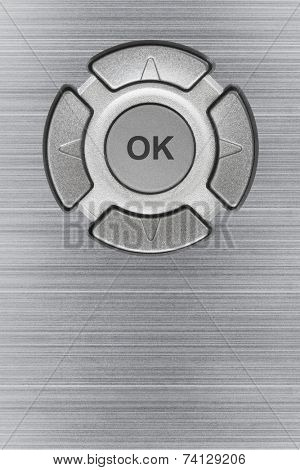 Button ok and metal texture, abstract technology background