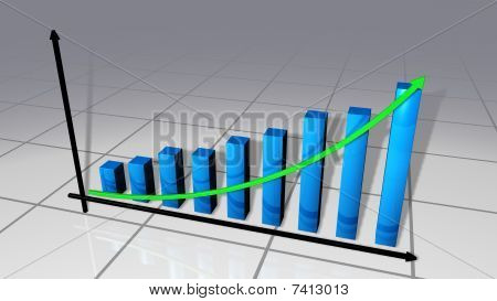 Bars and curve business chart that go up