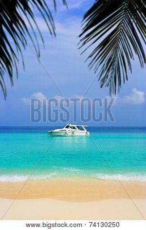 Yacht at sea and surf, abstract vacation background