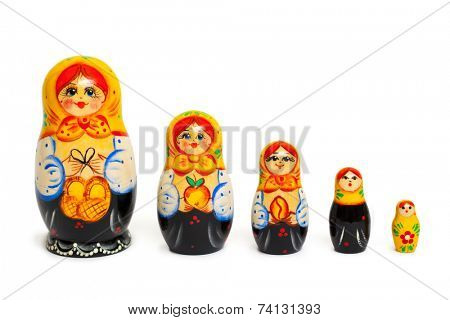 Russian toy matrioska isolated on white background