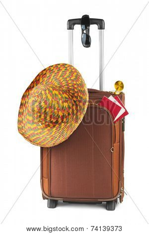 Travel case, hat, compass and sunglasses isolated on white background