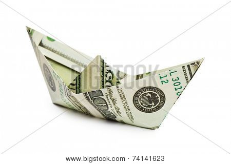 Ship made of money isolated on white background