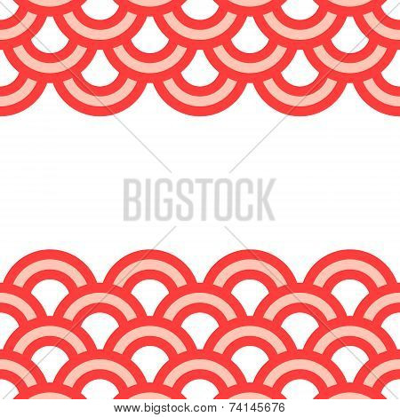 Geometric scallop seamless pattern border in pink and white, vector