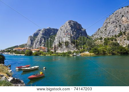 Town Omis in Croatia - abstact travel background poster
