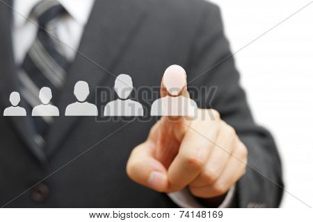 Businessman Touching Virtual Person. Promotion,staffing,career Concept