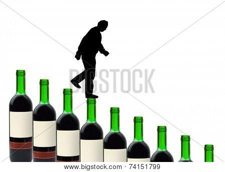 Wine bottles and alcoholic man isolated on white background