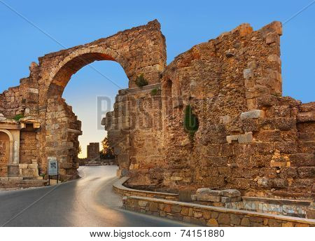 Road and ruins in Side, Turkey at sunset - archeology background