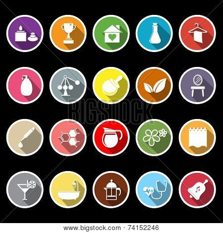 Spa Treatment Flat Icons With Long Shadow