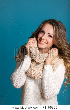 Beautiful woman with brown scarf.