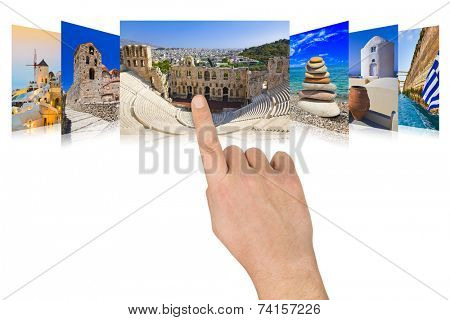 Hand scrolling Greece travel images - nature and tourism concept poster