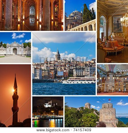 Collage of Istanbul Turkey images - architecture and tourism background (my photos)