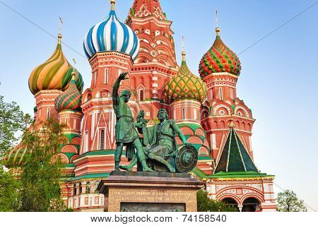 Saint Basil Cathedral on Red square, Moscow (Russia) at sunset