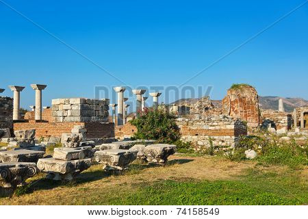 Ruins of st. Johns Basilica at Ayasuluk Hill - Selcuk Ephesus Turkey