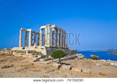Poseidon Temple at Cape Sounion near Athens, Greece - travel background