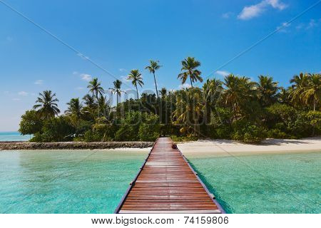 Jetty and beach at Maldives - nature travel background
