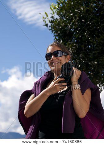 Beautiful Girl Holding A Digital Dslr Camera