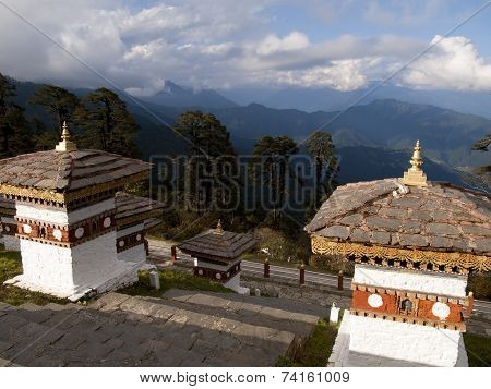 Beautiful View Over The Himalayan Mountains From The 108 Chortens On The Dochula Pass In Bhutan