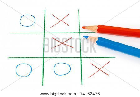 Noughts and crosses game isolated on white background