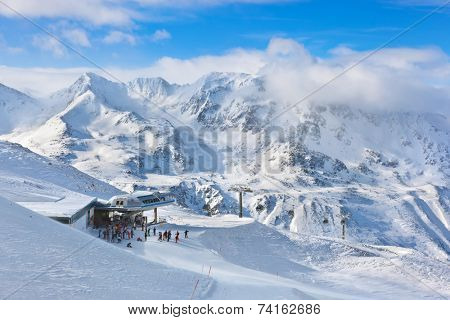 Mountain ski resort Hochgurgl Austria - nature and sport background poster