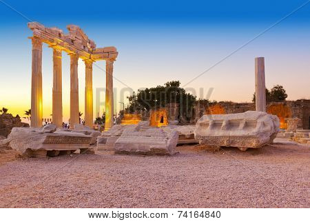Old ruins in Side, Turkey at sunset - archeology background poster