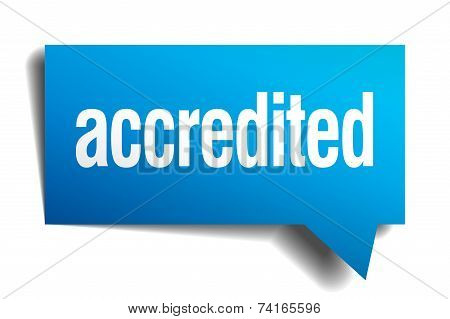 Accredited Blue Vector Realistic Paper Speech Bubble