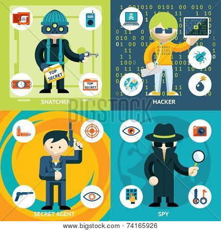 Vector Espionage and Criminal Activity Graphics