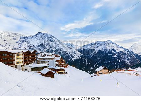 Mountains ski resort Solden Austria - nature and architecture background poster