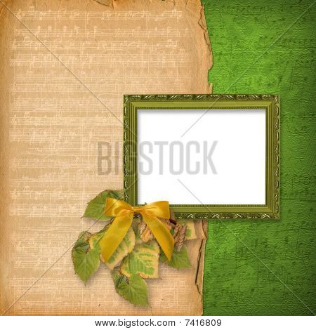 Grunge Woodwn Frame On The Abstract Musical Background