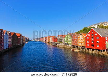 Cityscape of Trondheim, Norway - architecture background poster