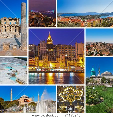 Collage of Turkey images - travel and nature background (my photos)