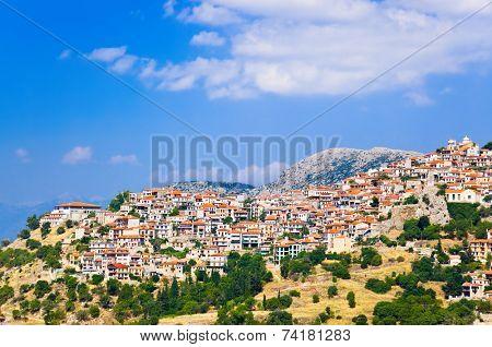 Resort of Arachova on mountain Parnassos, Greece - travel background